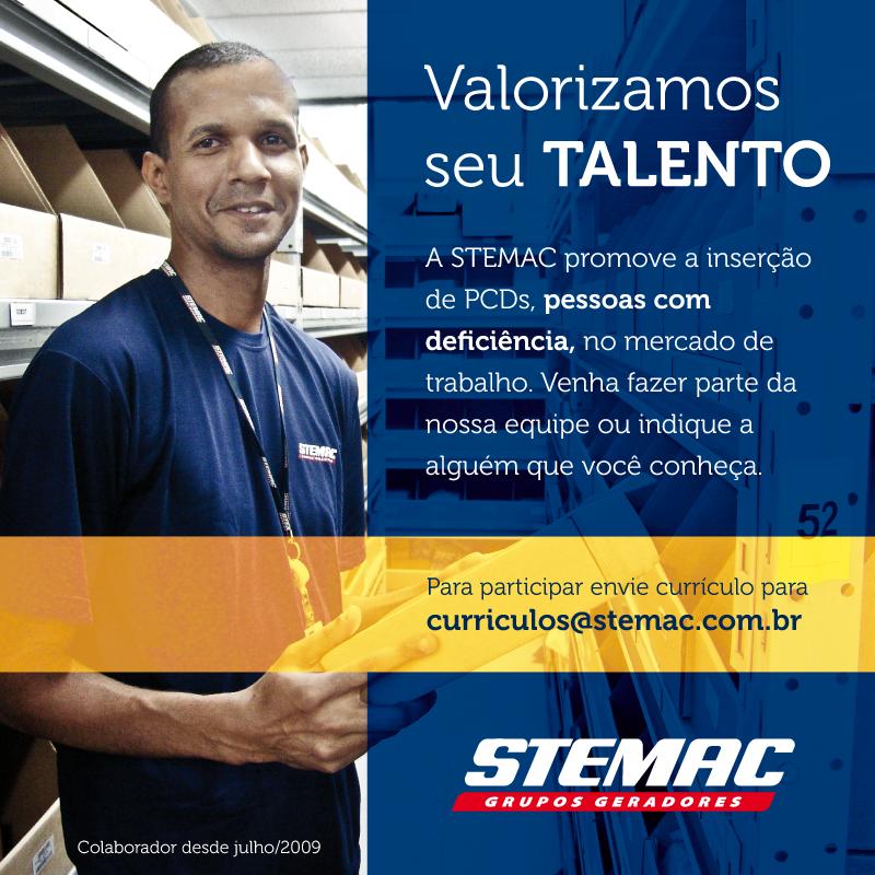 Valorizamos seu Talento A STEMAC promove a inserção de PCDs, pessoas com deficiência, no mercado de trabalho. Venha Fazer parte da nossa equipe ou indique a alguém que você conheça. Para participar envie currículo para curriculos@stemac.com.br.