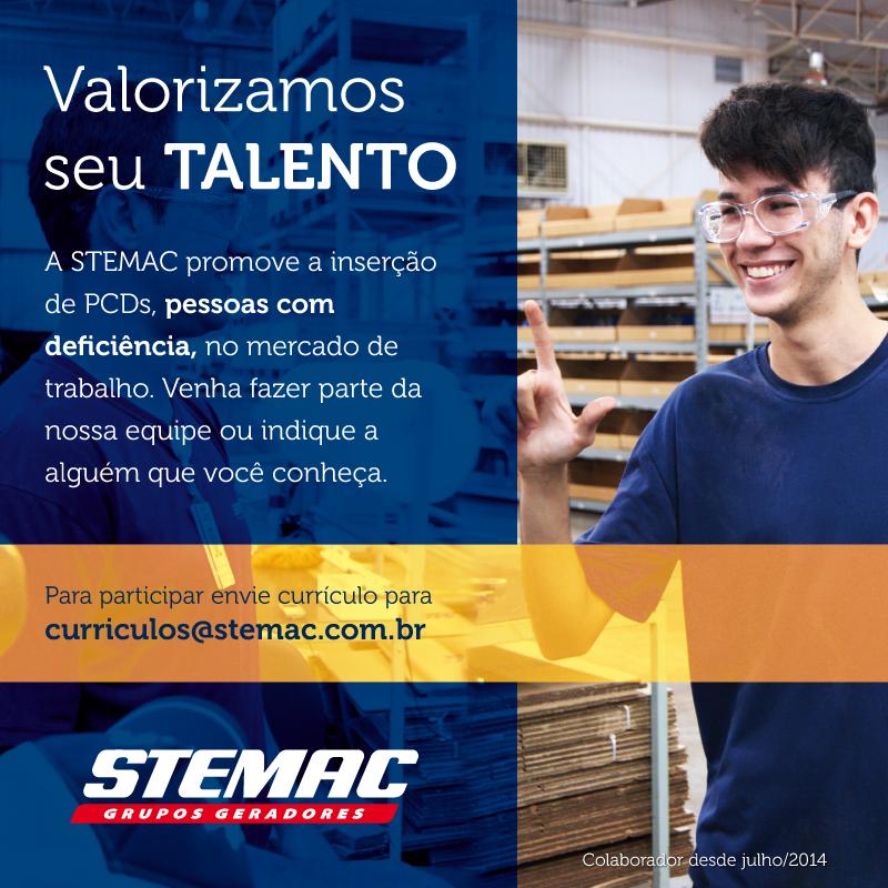 A STEMAC promove a inserção de PCDs, pessoas com deficiência, no mercado de trabalho. Venha Fazer parte da nossa equipe ou indique a alguém que você conheça. Para participar envie currículo para curriculos@stemac.com.br.
